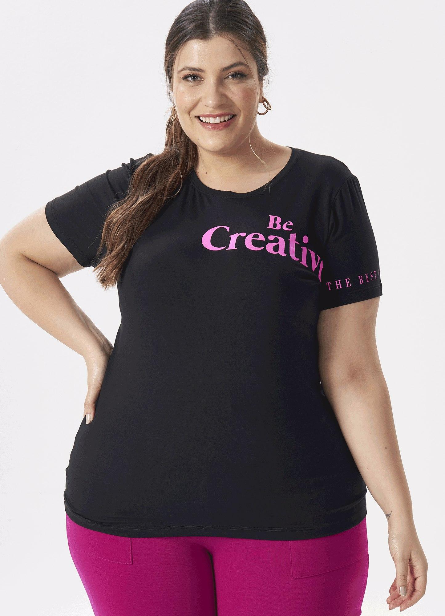 Blusa T-shirt Feminina Plus Size Malha Preta Estampa