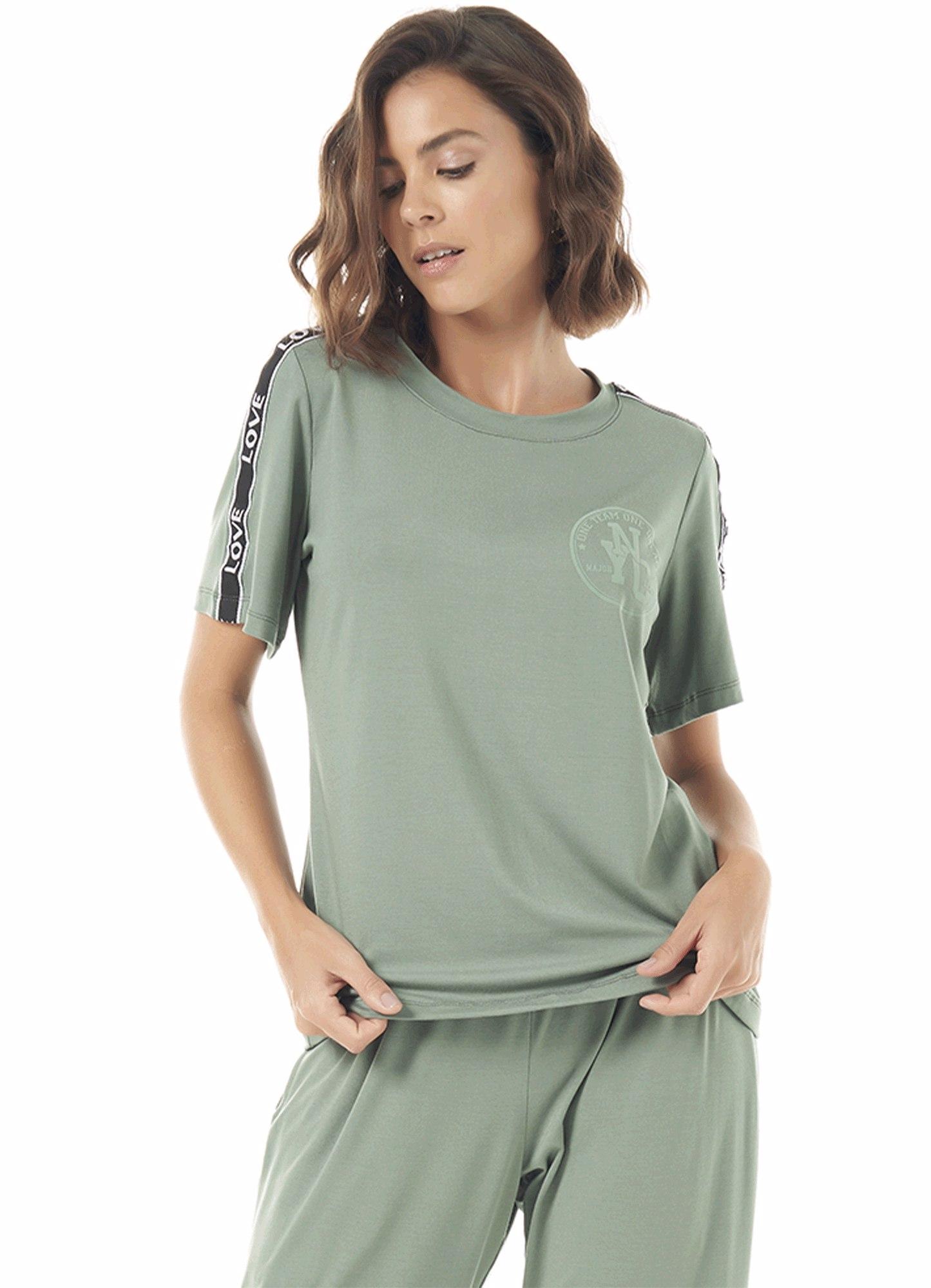 Blusa Feminina Viscose Verde Slim Estampada Decote Redondo