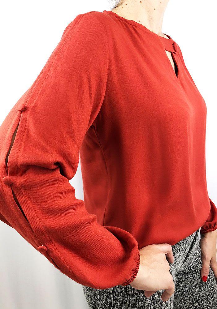 Blusa Tecido Com Botões Laranja