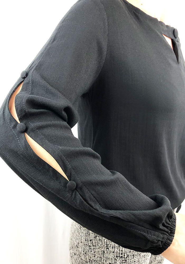 Blusa Tecido Com Botões Preto