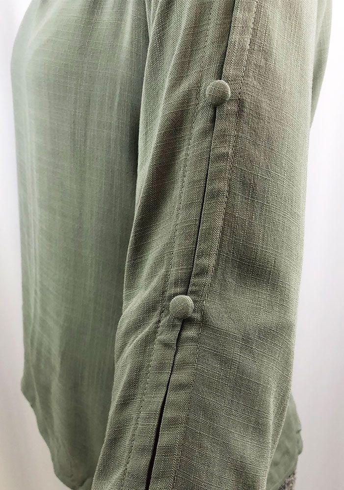 Blusa Tecido Com Botões Verde