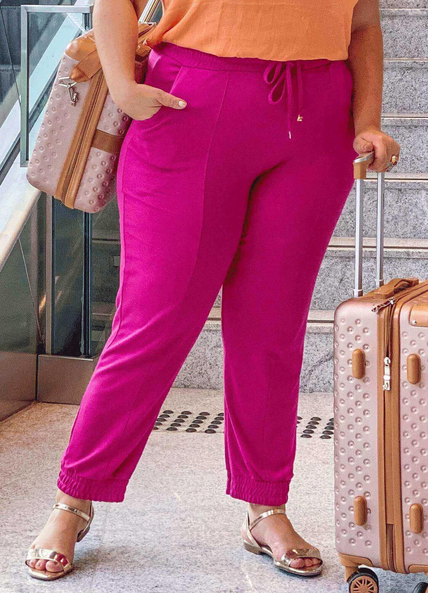 Calça Feminina Classic Pink Elástico Cós e Punho