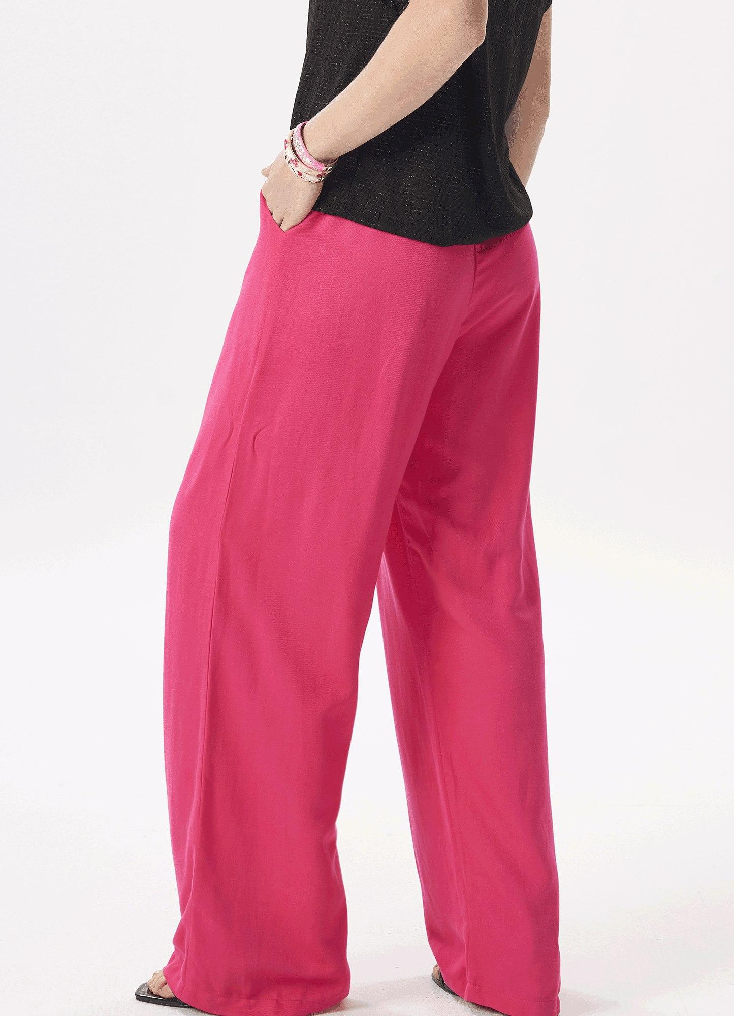 Calça Feminina Linho Rosa Pantalona Cós Elástico
