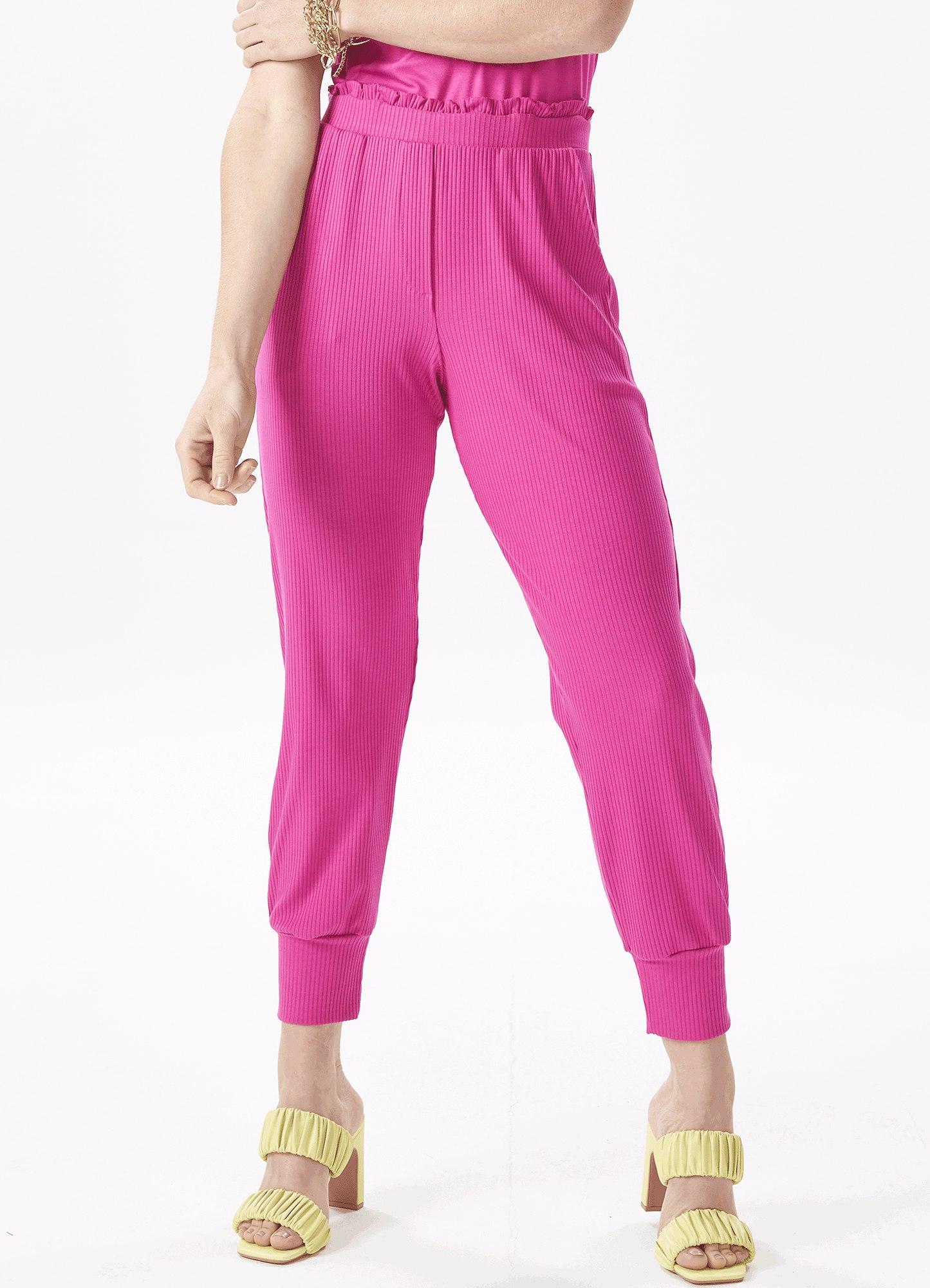 Calça Feminina Malha Canelada Rosa Com Cós de Elástico e Punho