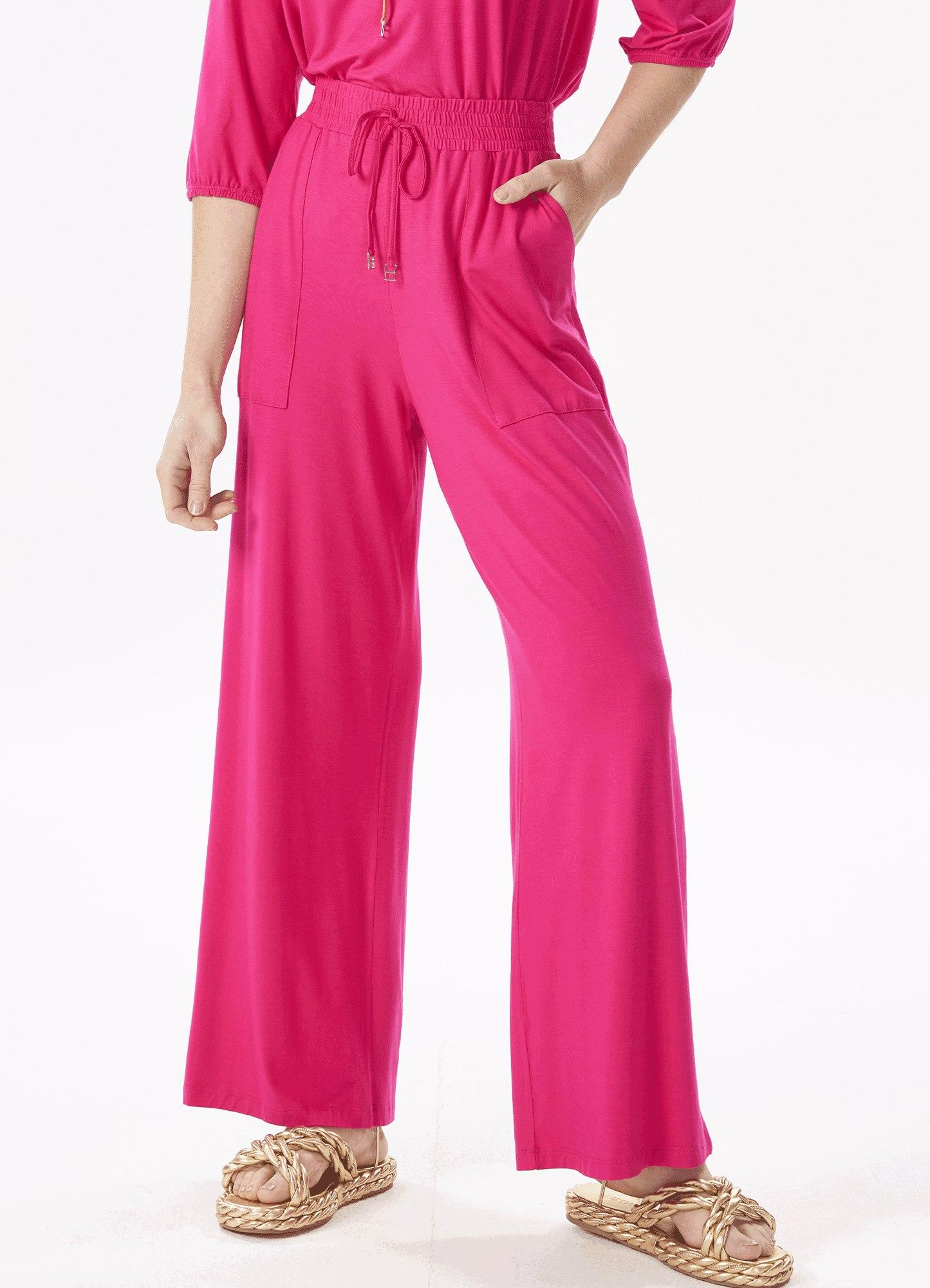 Calça Feminina Pantalona Rosa Com Bolso e Cós Elástico