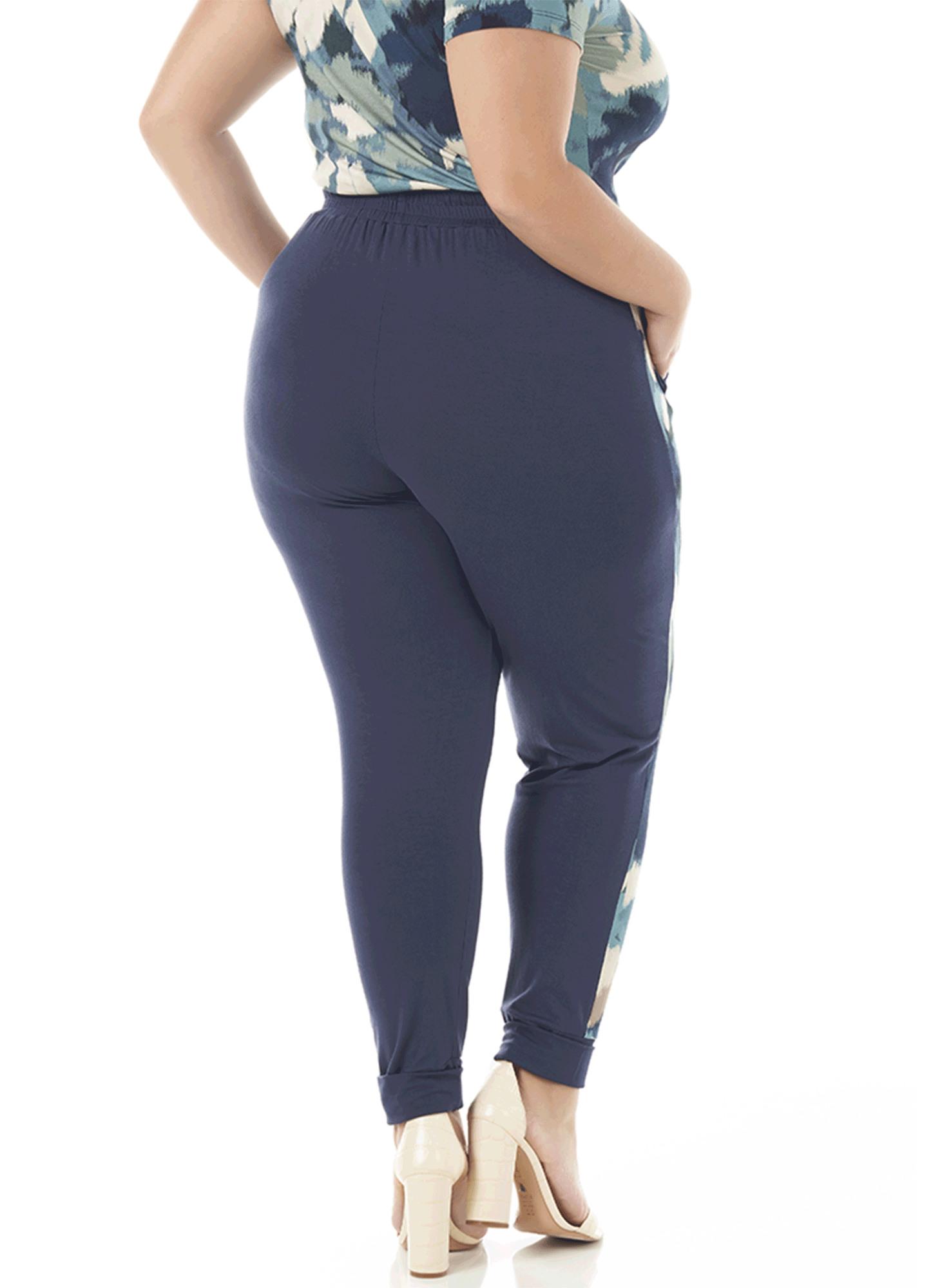 Calça Feminina Viscose Azul com Faixa Lateral Estampada com Bolso na Frente Cós de Elástico com Cordão de Enfeite
