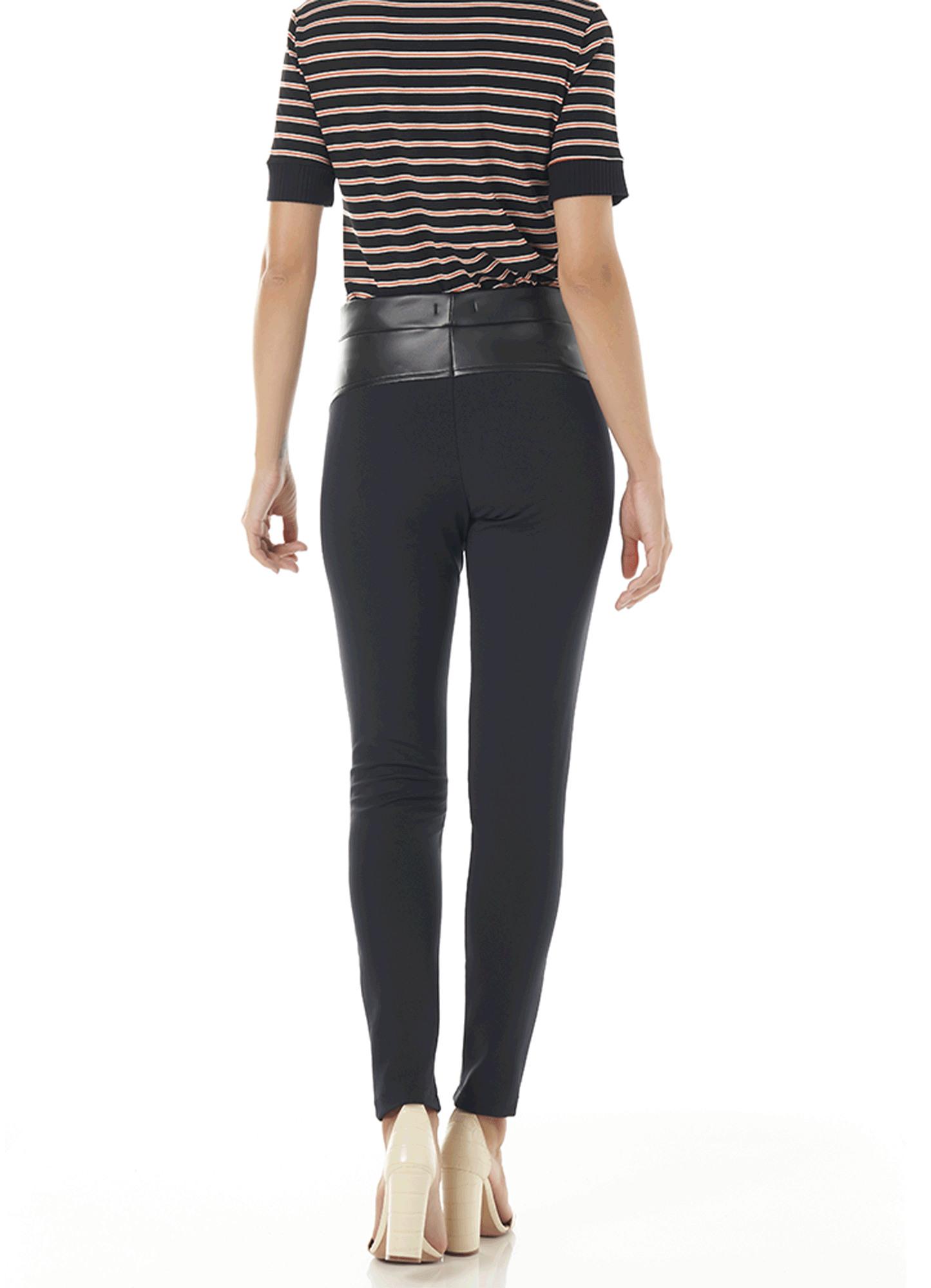 Calça Montaria Feminina Frente Couro Wang Costas Body Fit Poliamida Preta Cintura Alta
