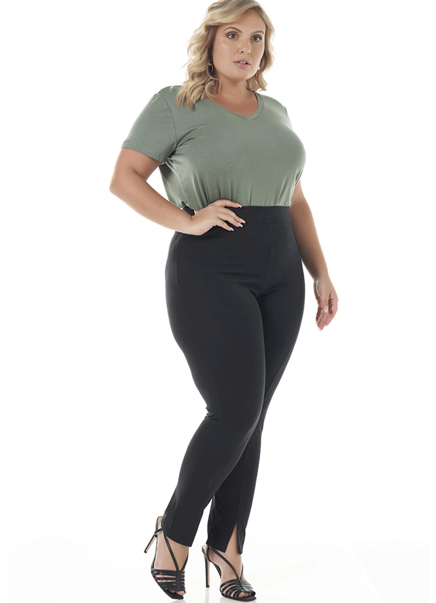 Calça Montaria Feminina Viscose Preta Cintura Alta com Racha