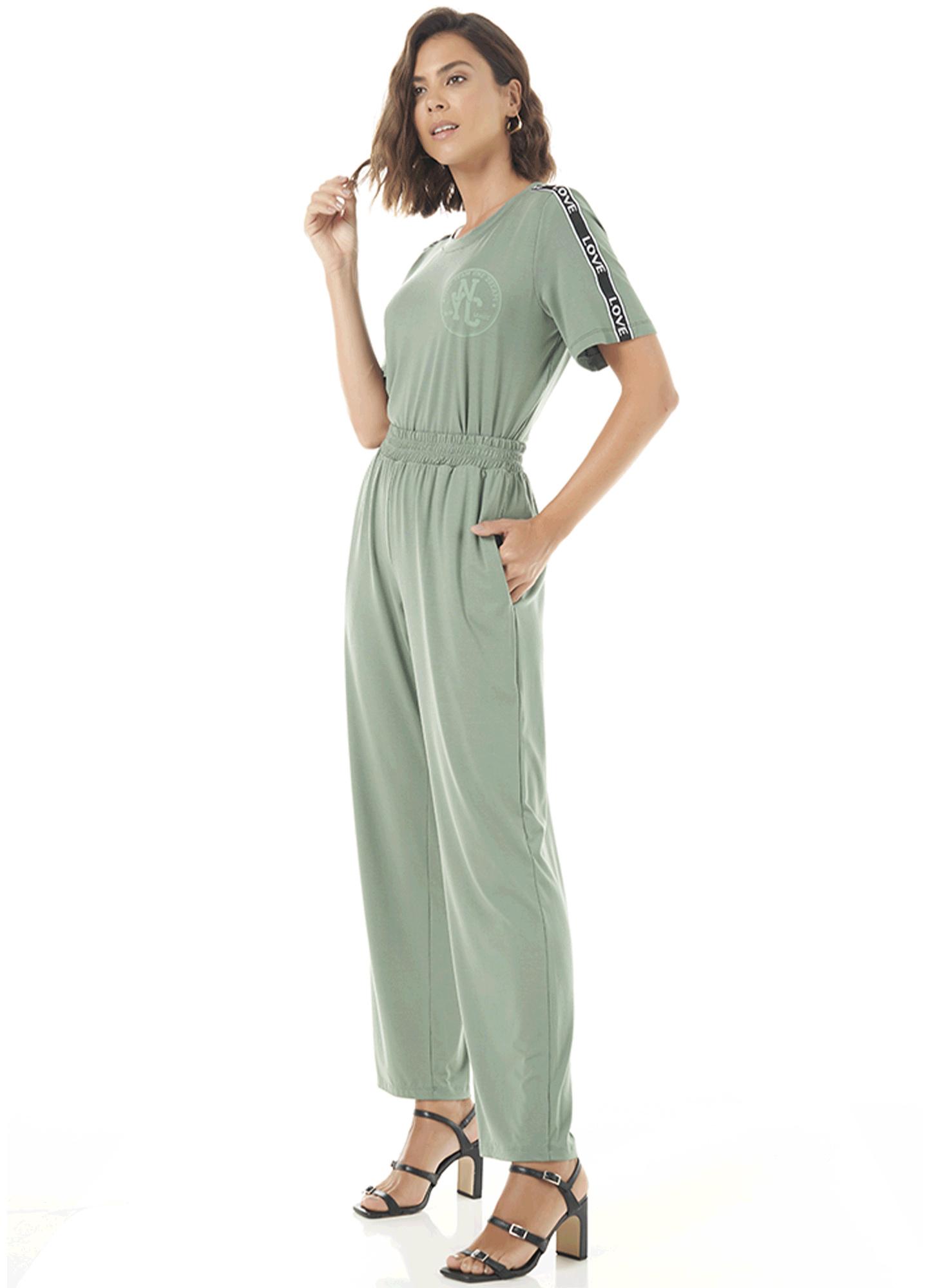 Calça Slim Feminina Viscose Verde Bolso na Frente Cós de Elástico