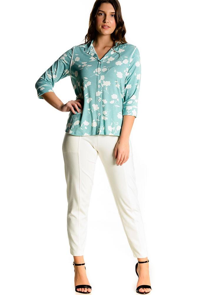 Camisa Estampada Friso Bicolor