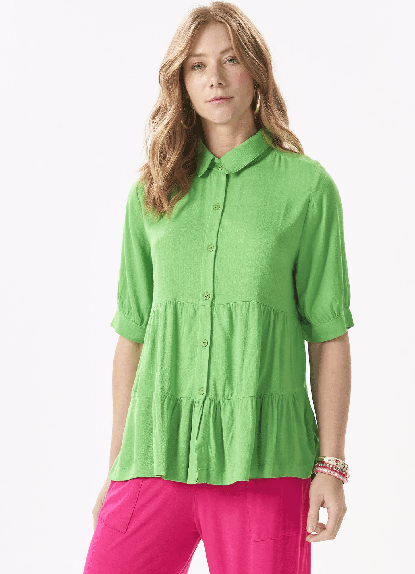 Camisa Feminina Tecido Duas Marias Botões e  Gola