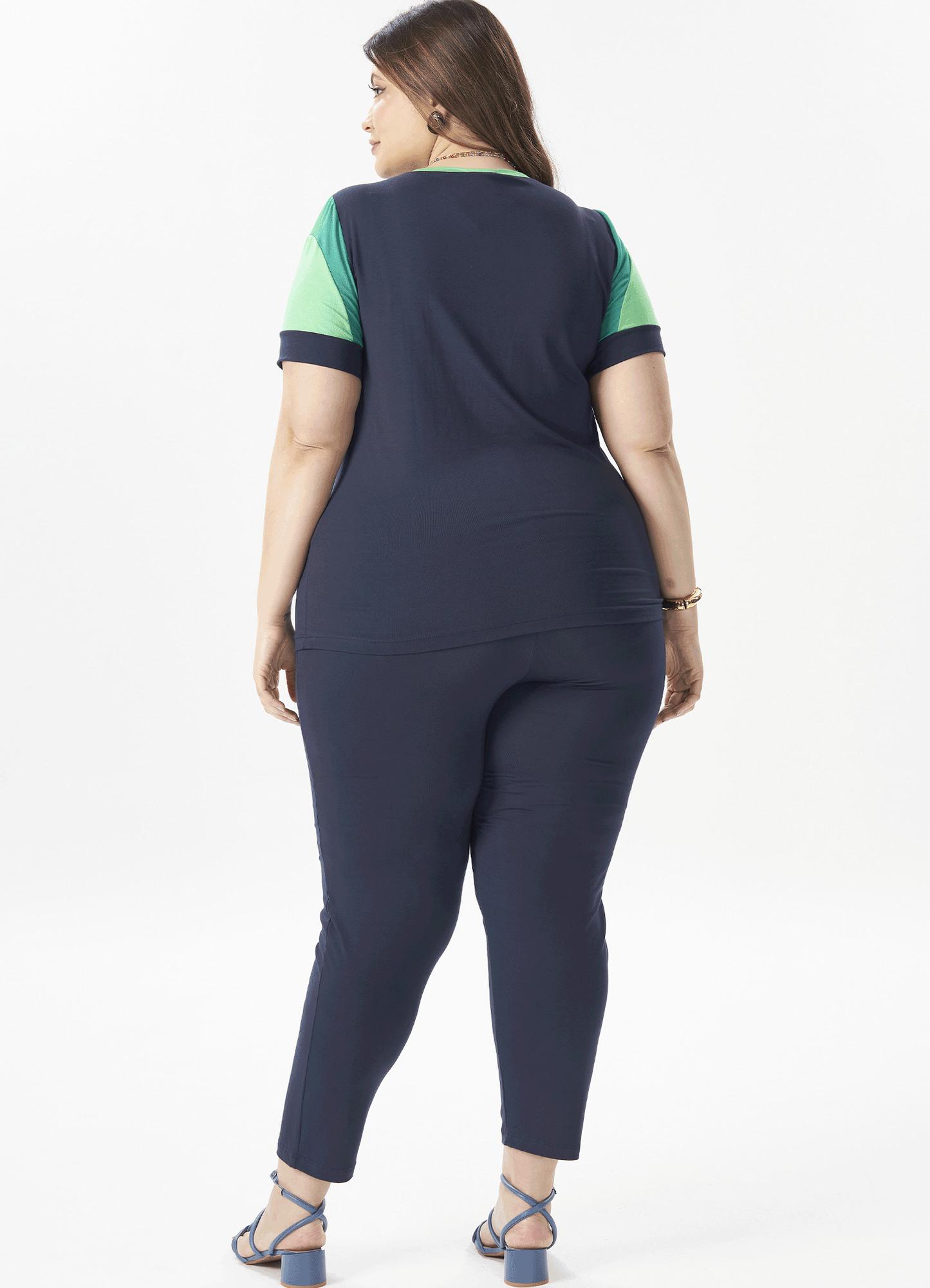 Conjunto Feminino Plus Size Malha Tricolor