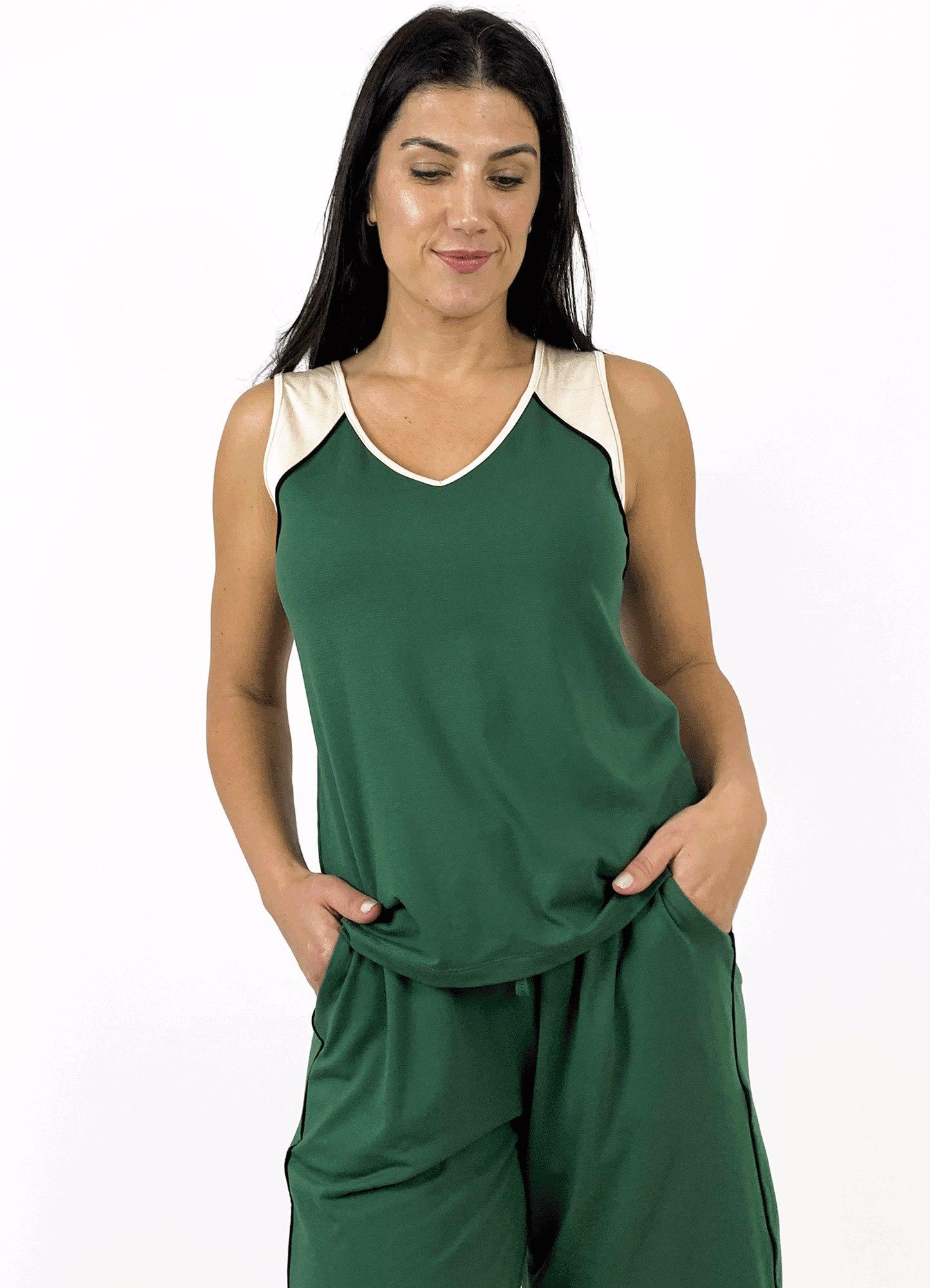 Blusa Regata Feminina Malha Tricolor Friso e Recorte