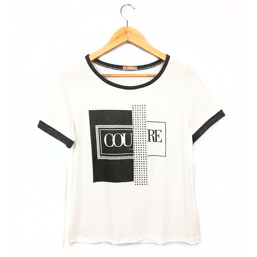 T-Shirt Com Estampa E Brilho Off White/Preto