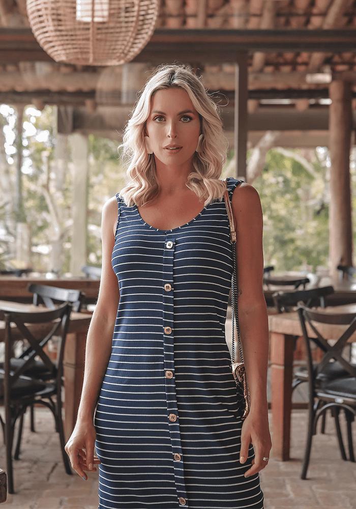 Vestido Canelado Botões Frente