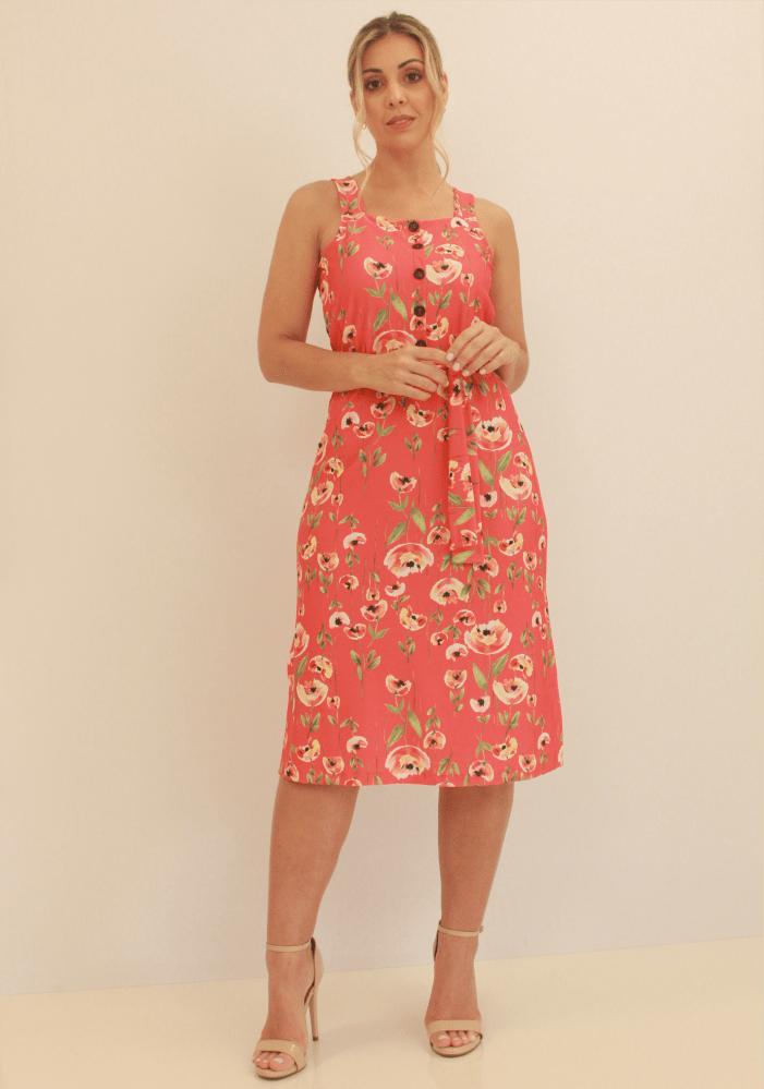 Vestido Com Botões e Faixa Coral/Preto