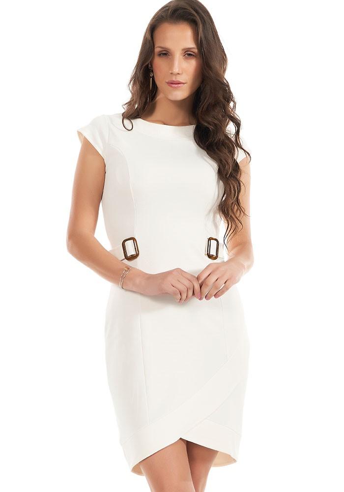 Vestido Com Fivelas e Barra Diferenciada Off White