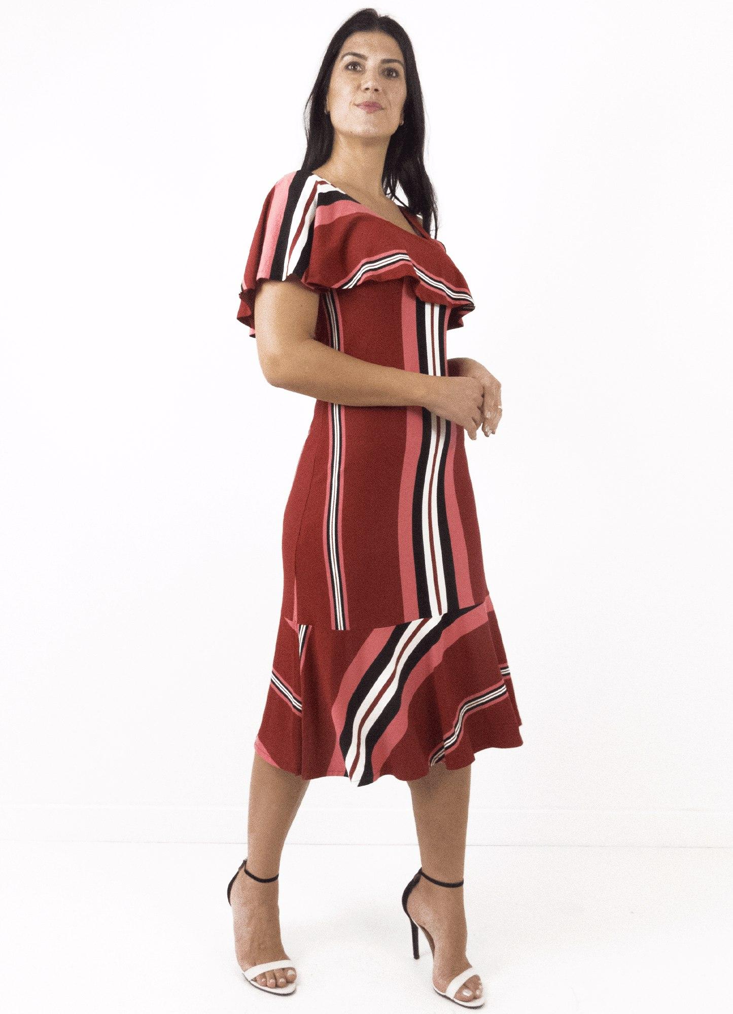 Vestido Feminino Midi Crepe Listrado Ombro só Com Babado