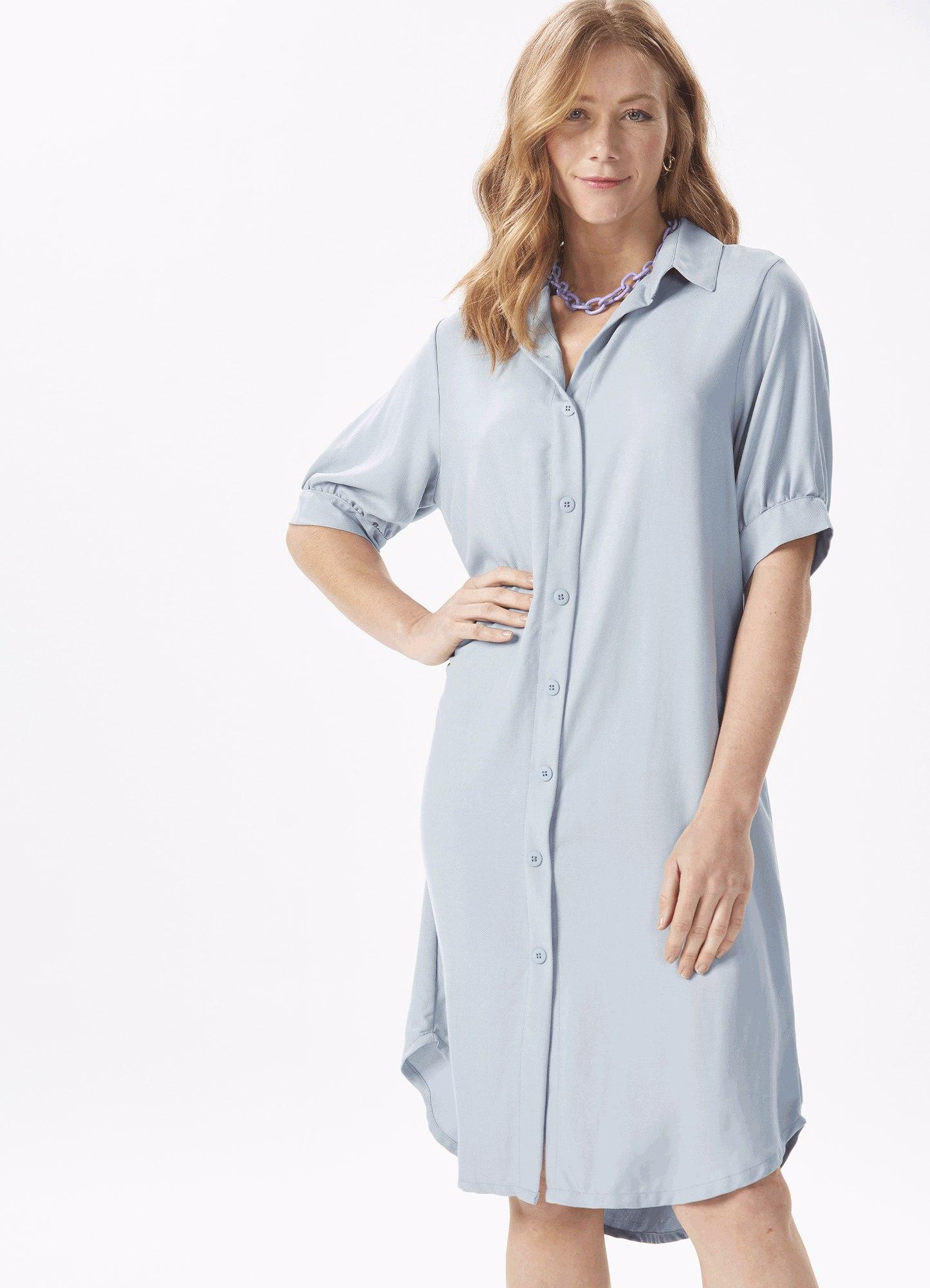 Vestido Feminino Tecido Chemise Azul Manga Curta