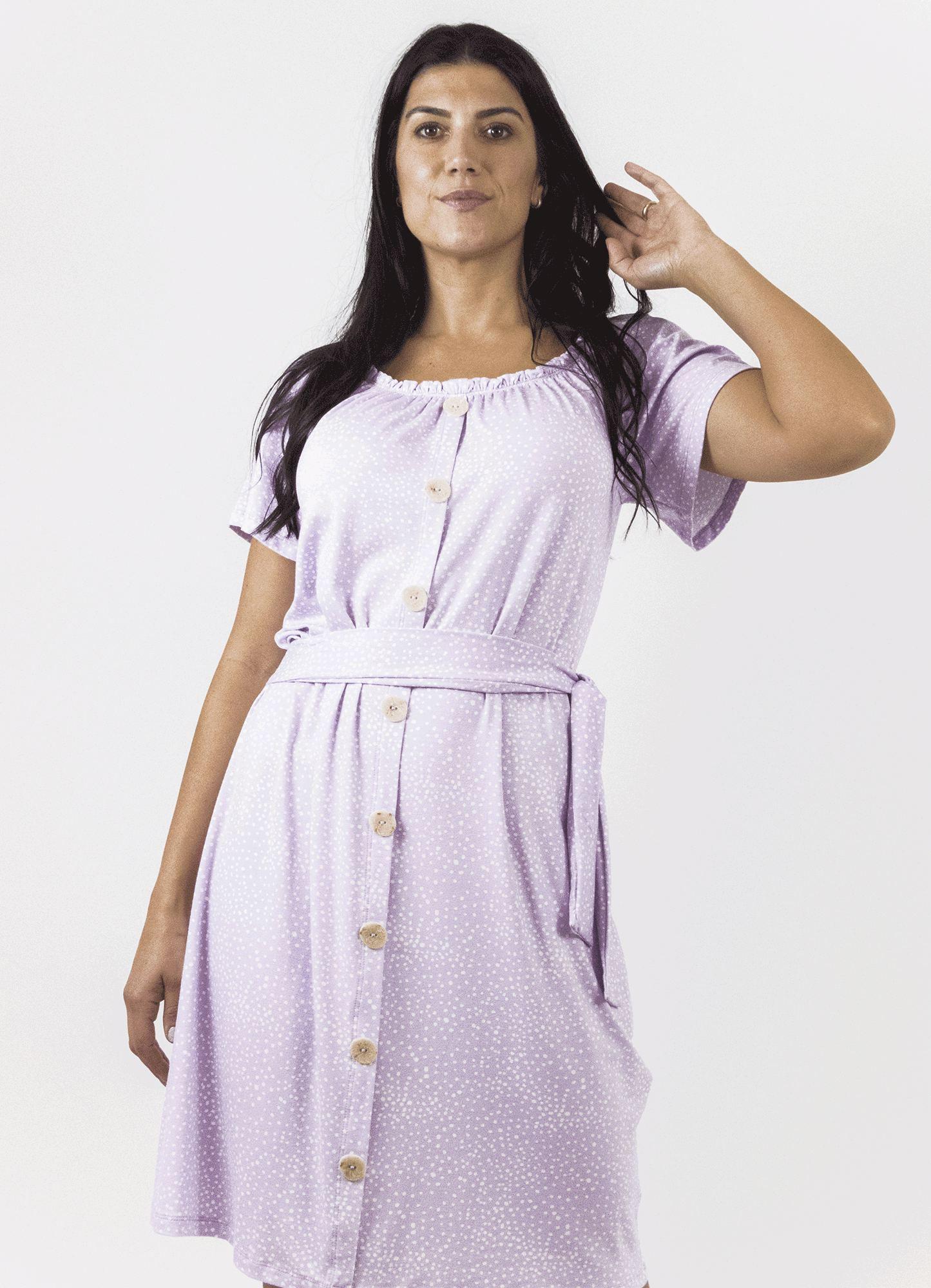 Vestido Feminino Estampa Poá com Elástico e Botões