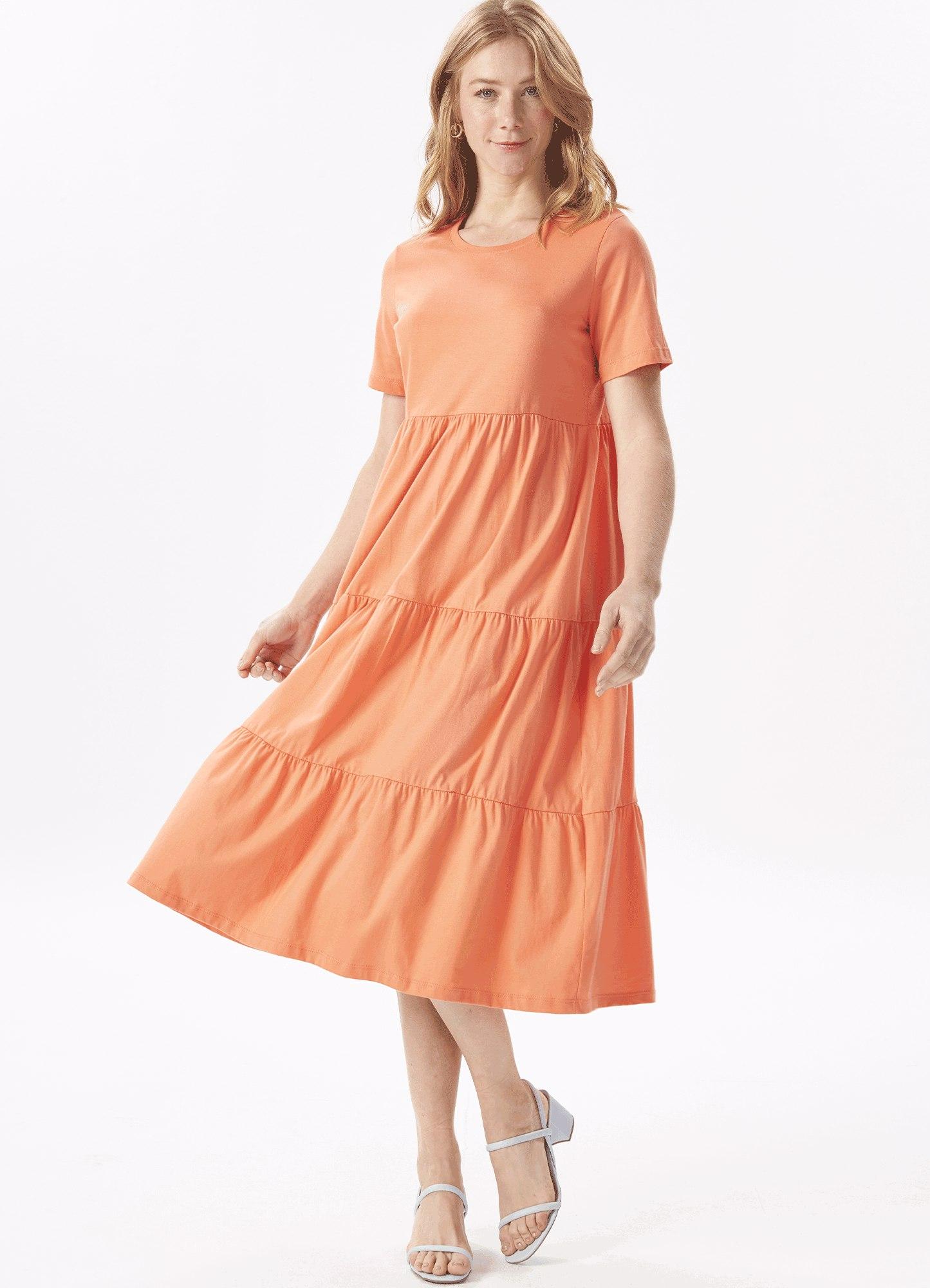Vestido Feminino Malha Laranja Três Marias