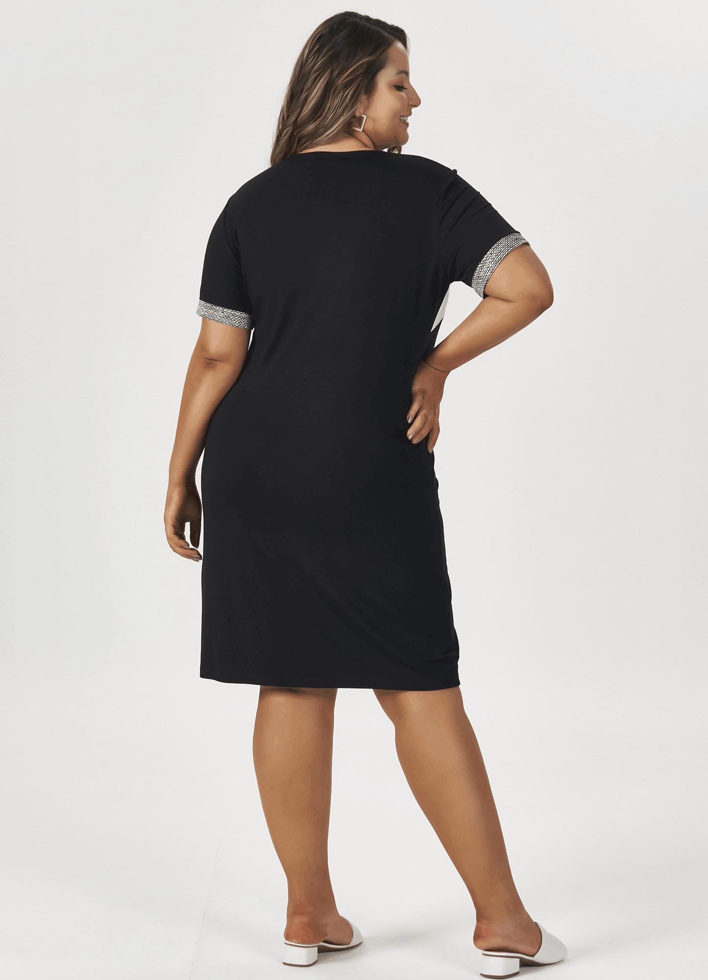 Vestido Feminino Malha Preto Recortes Estampados