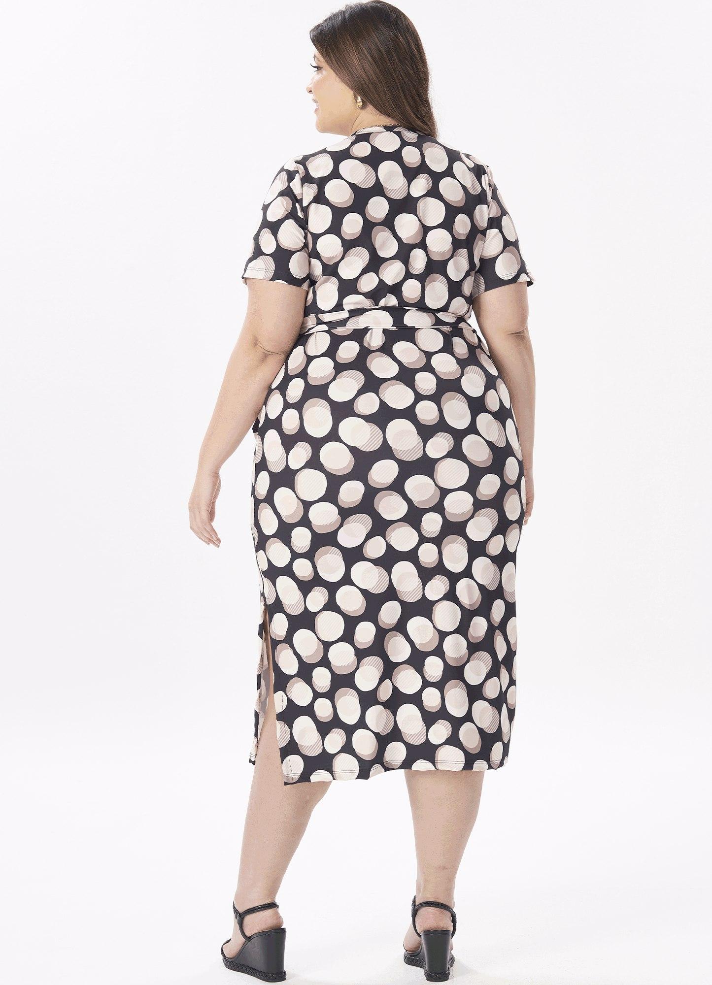 Vestido Feminino Midi Malha Estampado Racha Lateral
