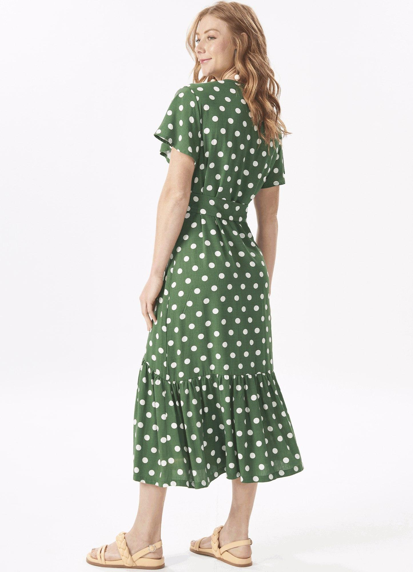 Vestido Feminino Mídi Tecido Estampa Poá Faixa Amarração e Botões