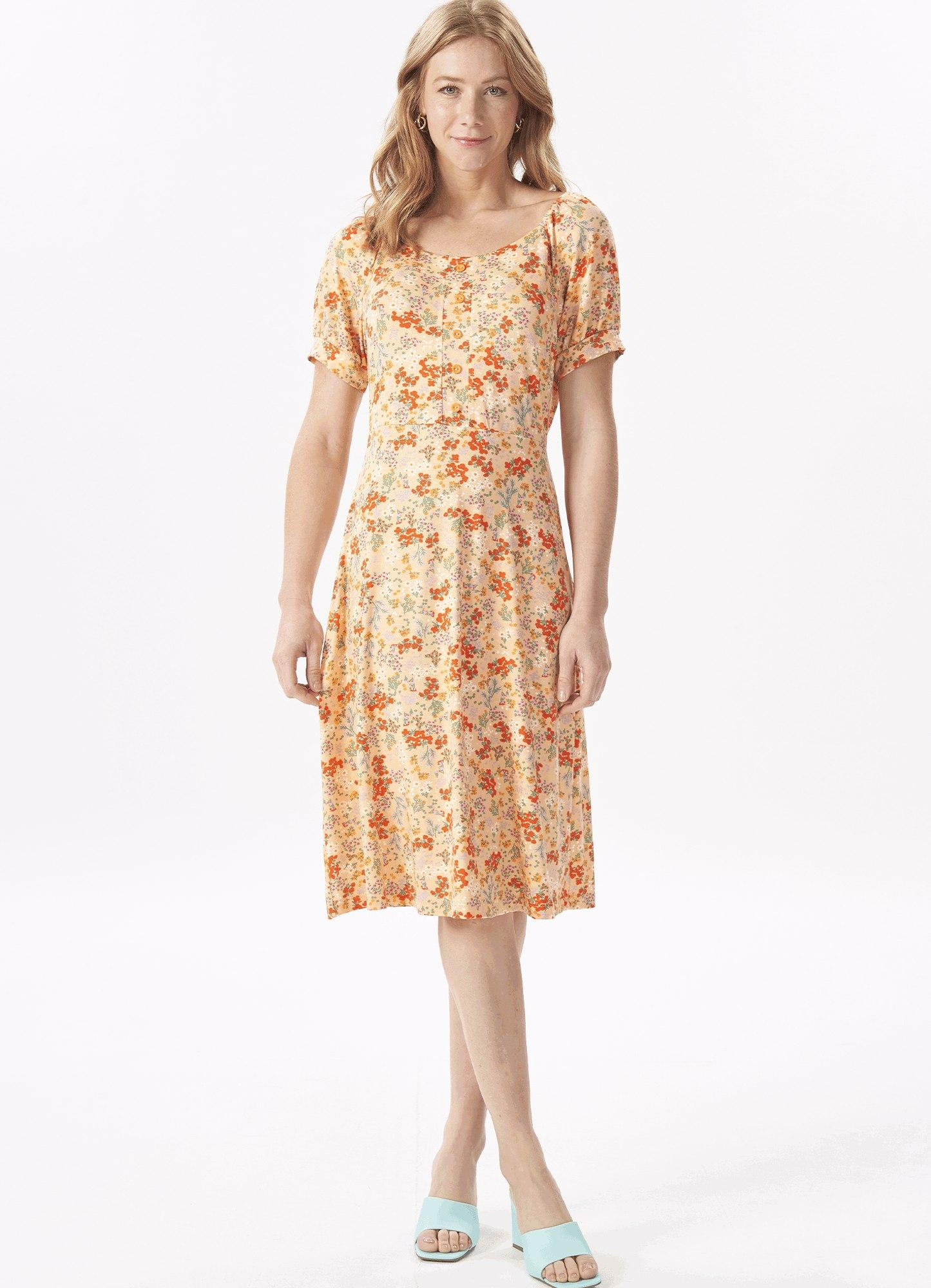 Vestido Feminino Plus Size Bata Malha Estampado Liberty Botões