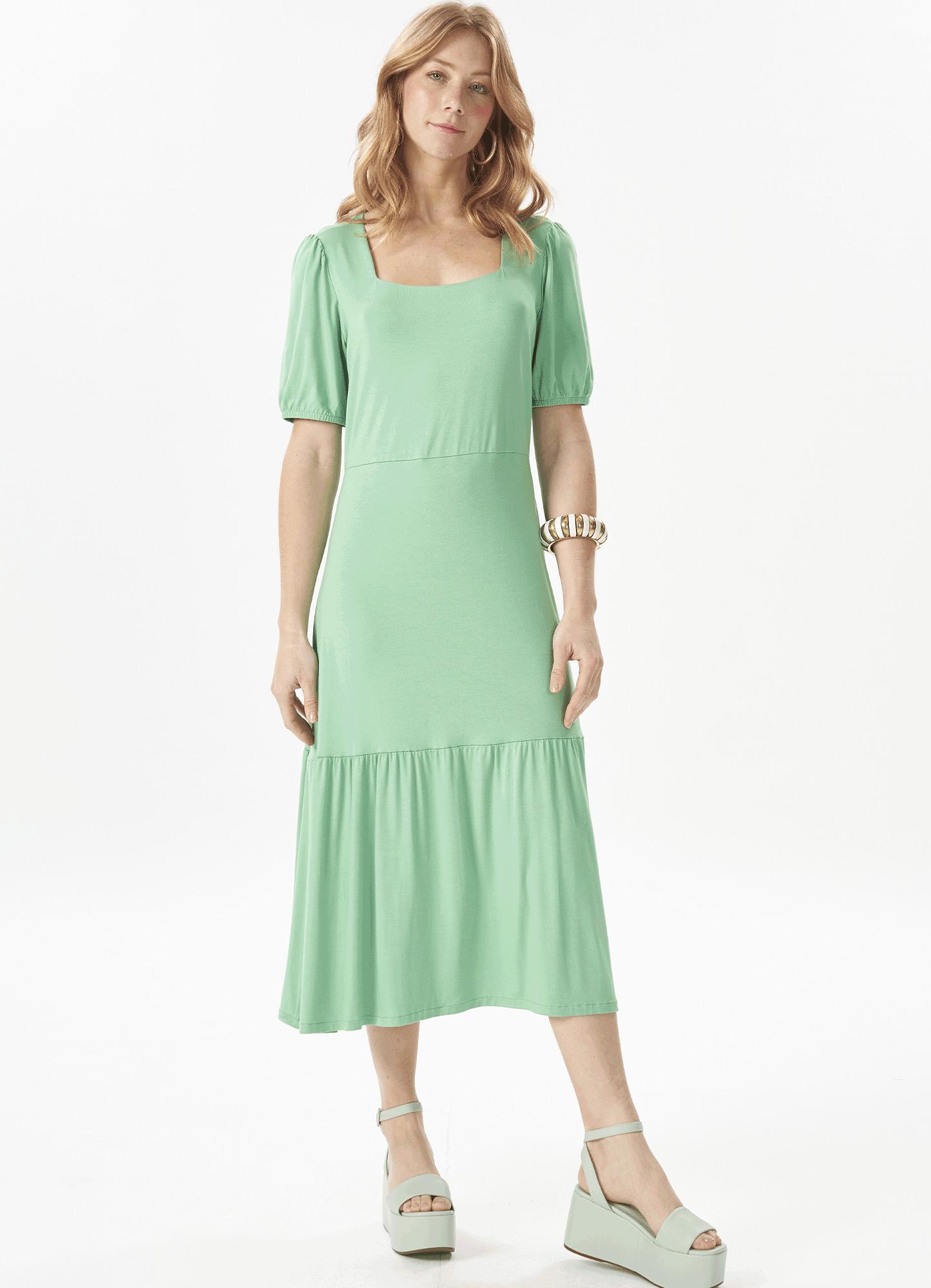 Vestido Feminino Plus Size Malha Verde 3 Marias Decote Quadrado