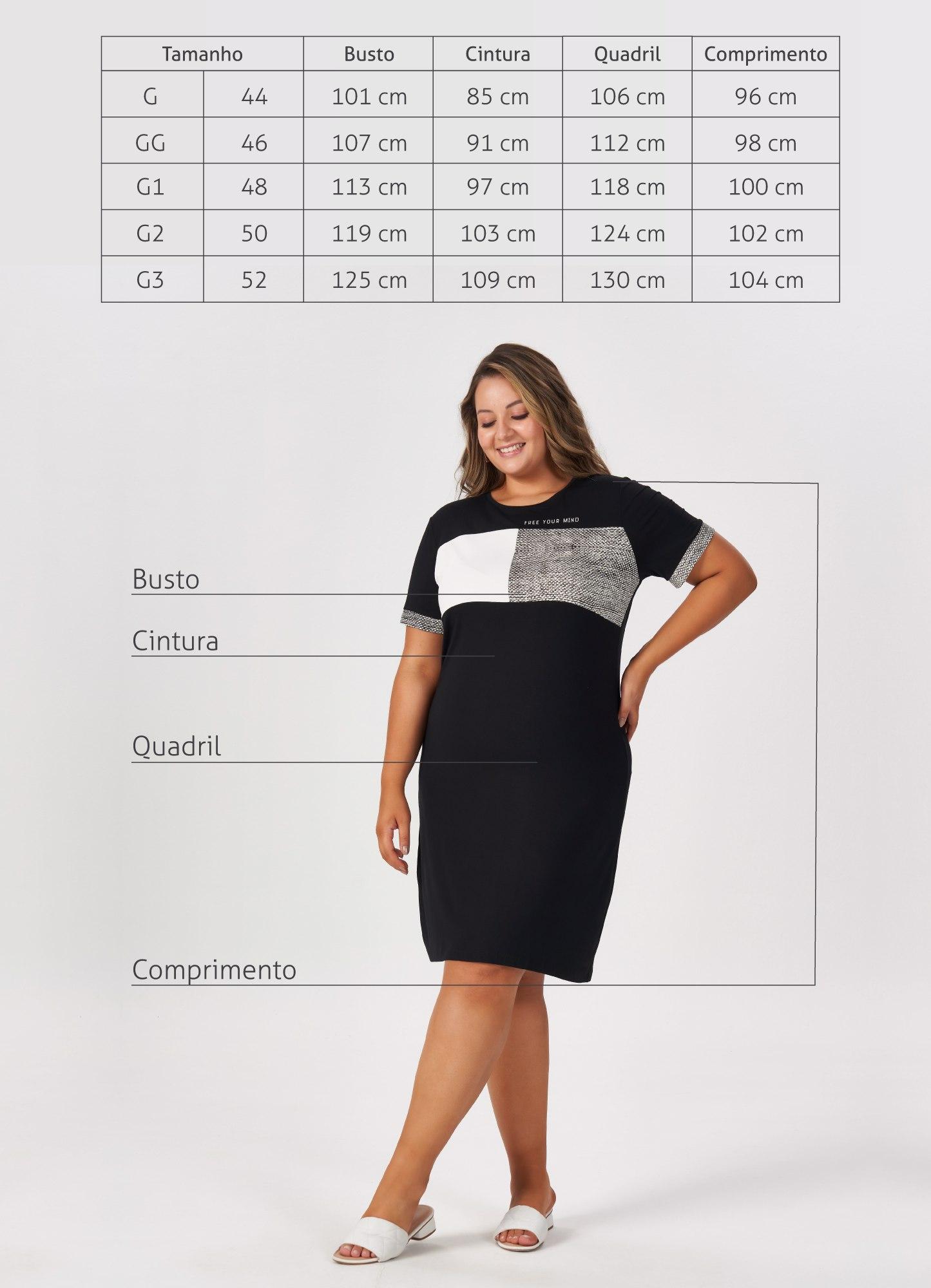 Vestido Plus Size Preto Recortes Estampados