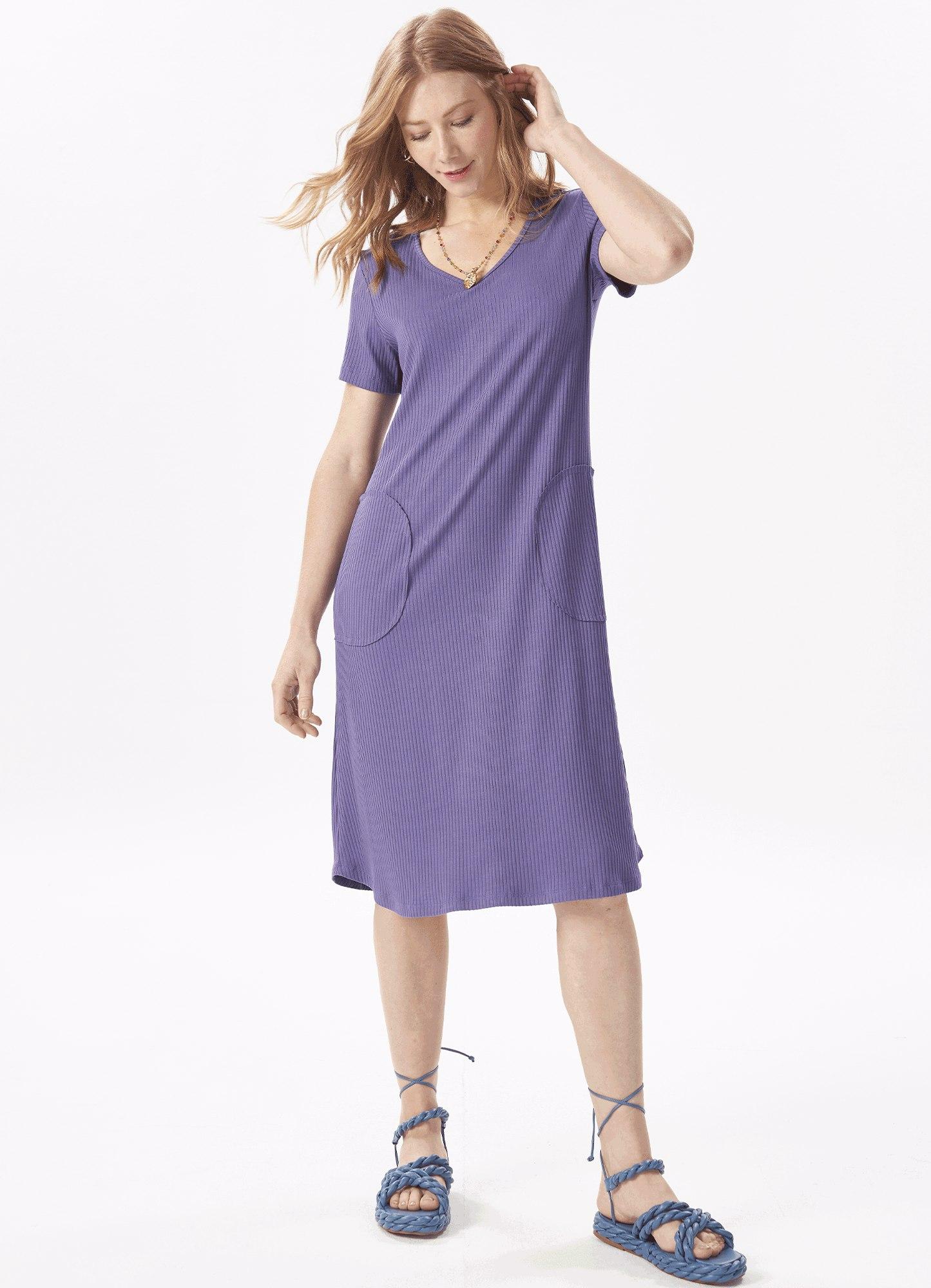 Vestido Feminino Plus Size Roxo Canelado Com Bolso