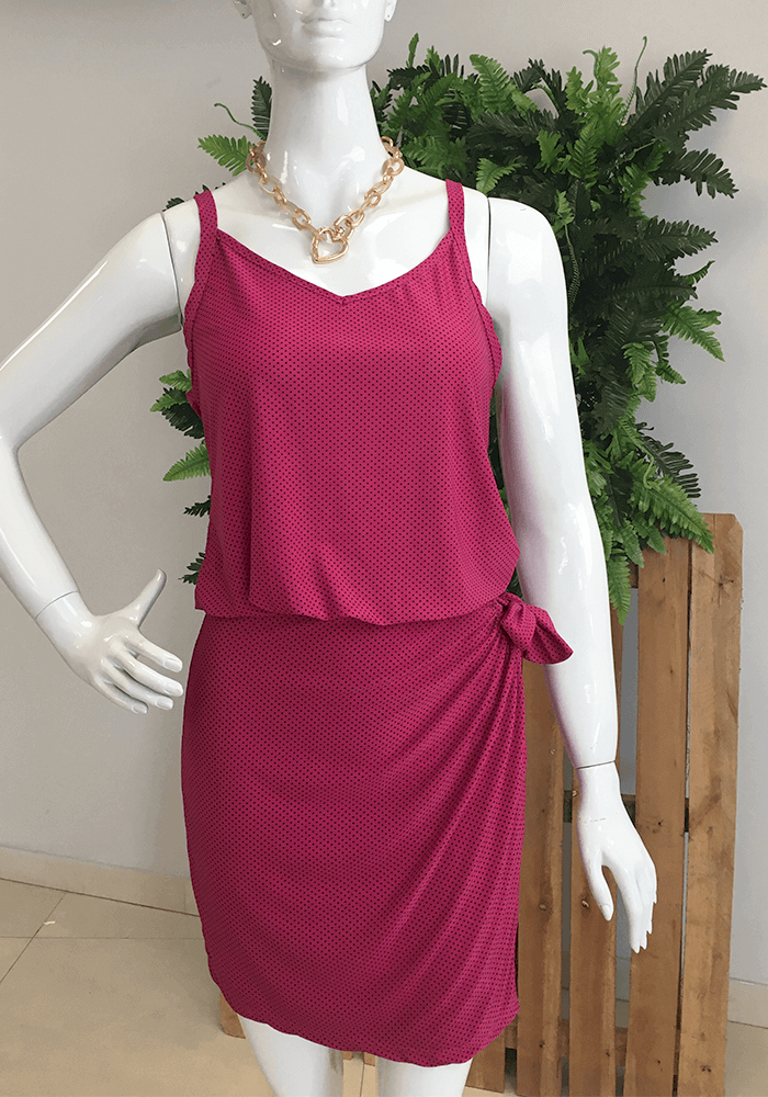 Vestido Jersey Rosa Estampa Poa