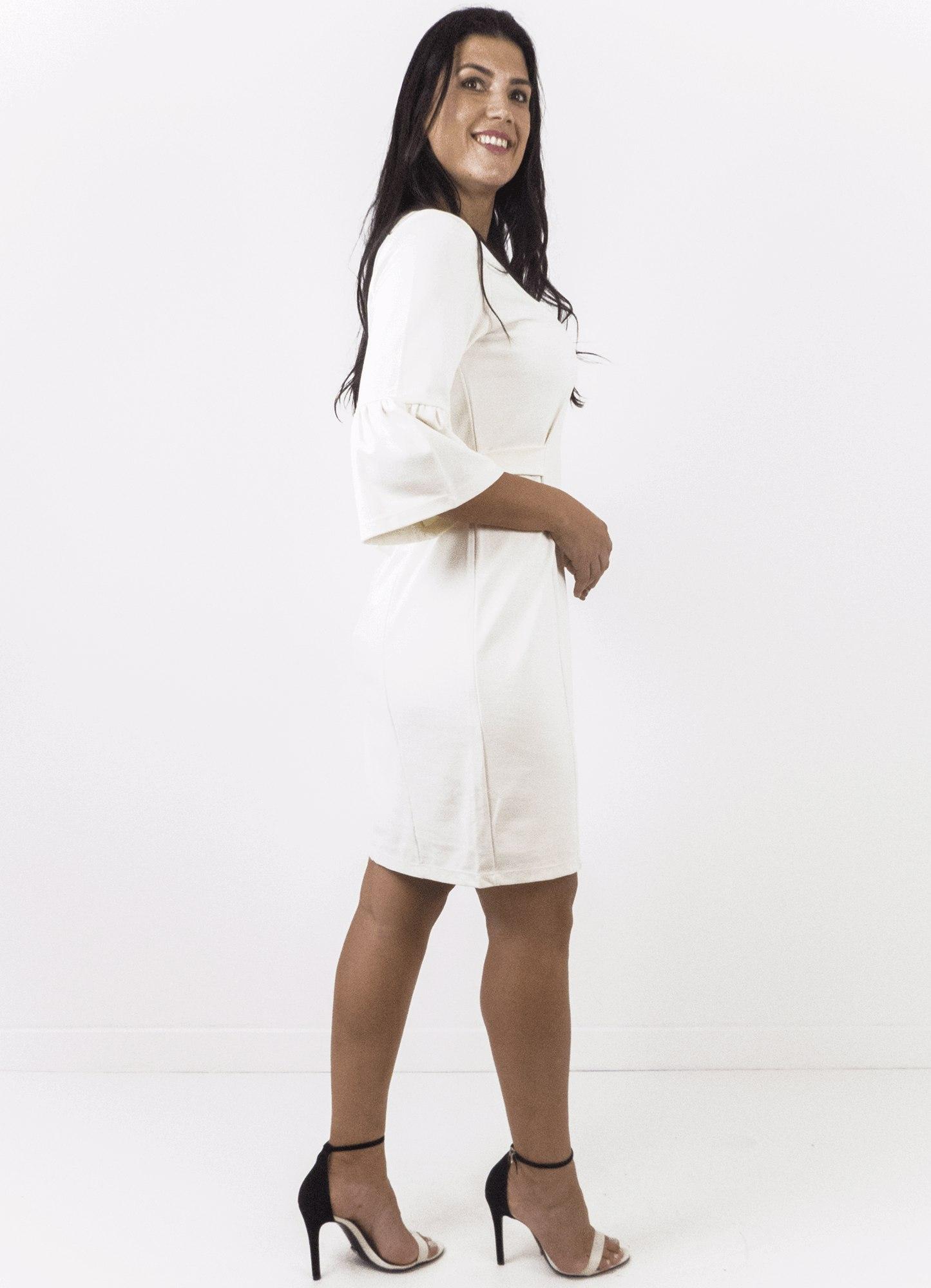 Vestido Liso Reto Com Franzidos Nas Mangas Off White
