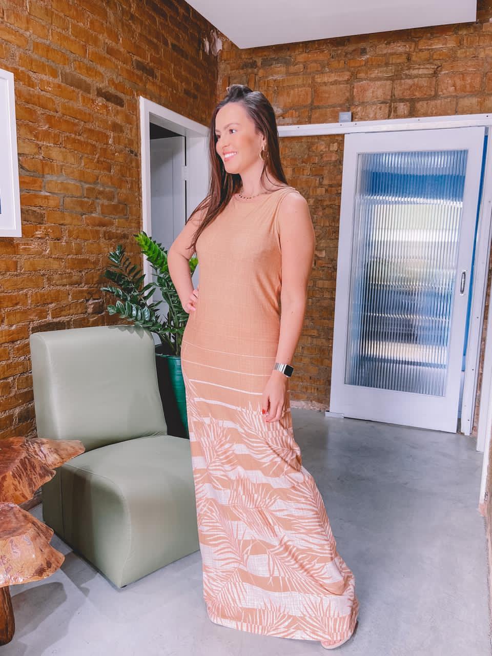 Vestido Longo Barrado