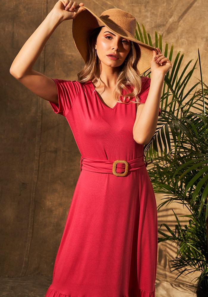 Vestido Longo Rosa Com Fivela