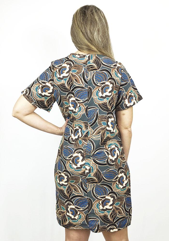 Vestido Manga Curta Tecido