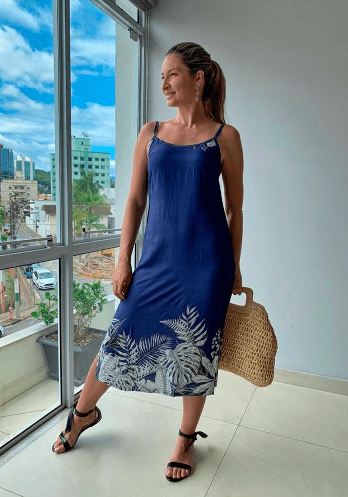Vestido Midi Estampado Azul