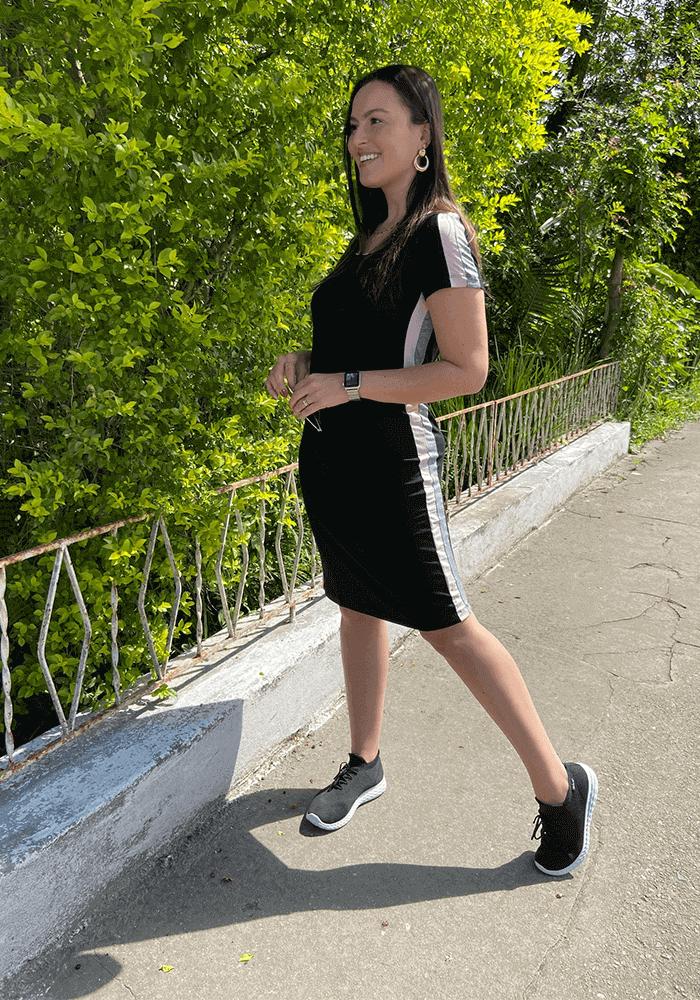 Vestido Reto Recorte Bicolor