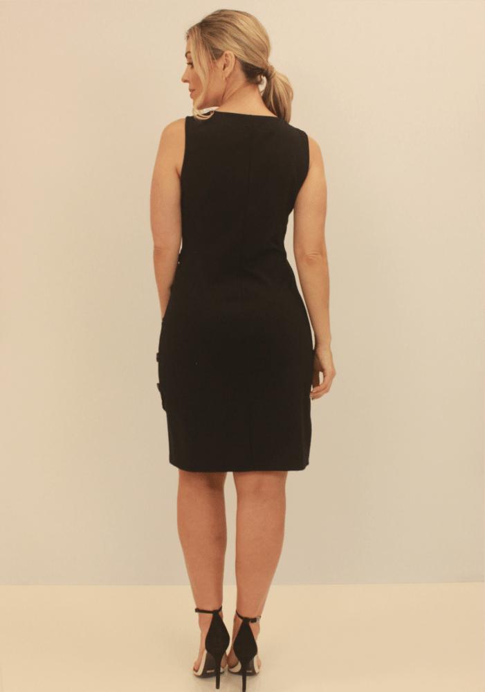 Vestido Transpassado Com Botões Na Lateral Preto