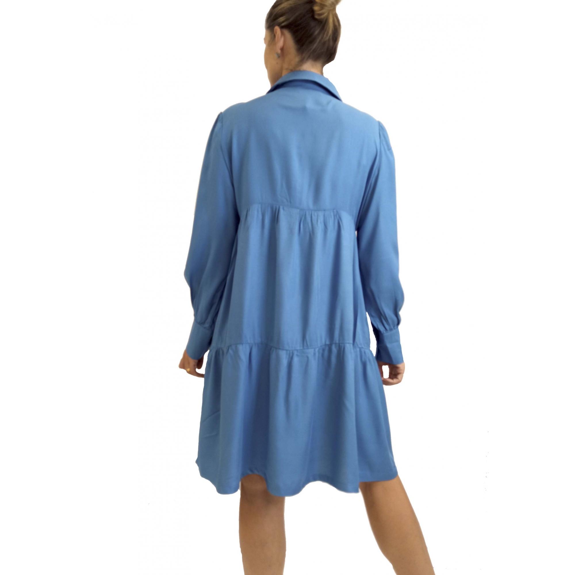Vestido Twill Manga Longa Com Gola