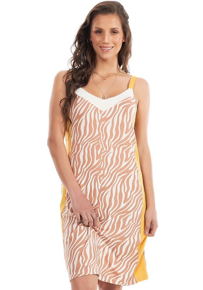 Vestido Zebra Com Recorte Lateral Bege/Amarelo