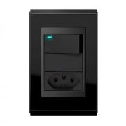 Conjunto 1 Interruptor LED + 1 Tomada 20A - Refinatto Premium - Preto Alto Brilho / Preto