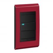 Conjunto 1 Interruptor LED - Refinatto Premium - Rubi Alto Brilho / Preto