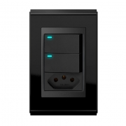 Conjunto 2 Interruptores LED + 1 Tomada 10A - Refinatto Premium - Preto Alto Brilho / Preto