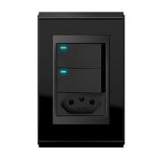 Conjunto 2 Interruptores LED + 1 Tomada 20A - Refinatto Premium- Preto Alto Brilho / Preto