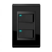 Conjunto 2 Interruptores LED - Refinatto Premium - Preto Alto Brilho / Preto