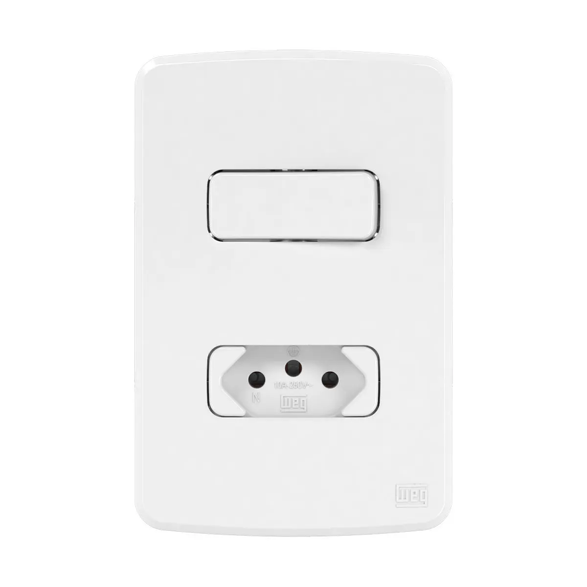 1 Interruptor Simples+Tomada 10A Placa 4X2 Composé Br