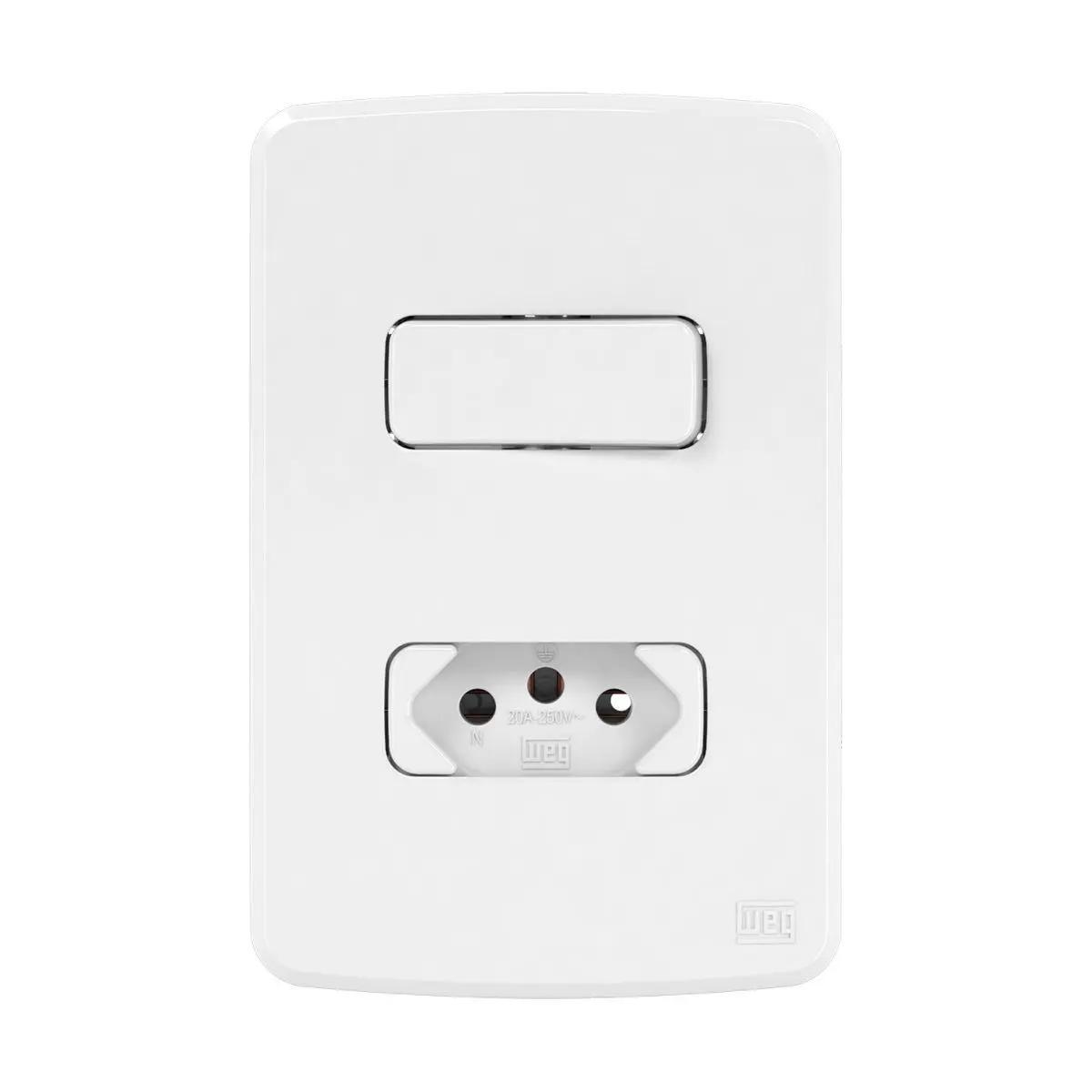 1 Interruptor Simples+Tomada 20A Placa 4X2 Composé Br