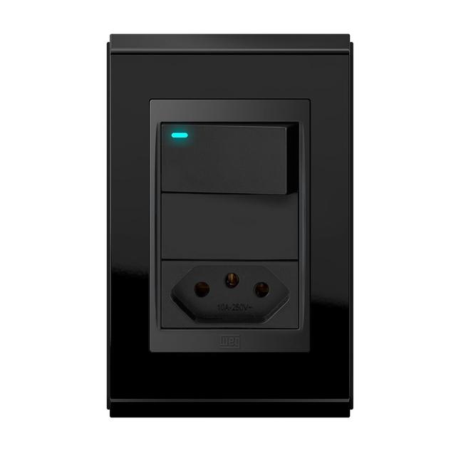 Conjunto 1 Interruptor LED + 1 Tomada 10A - Refinatto Premium - Preto Alto Brilho / Preto